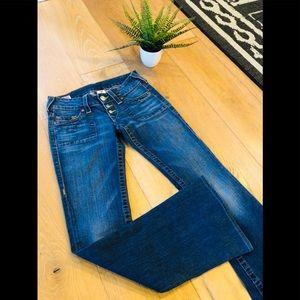 True Religion Morgan flare button fly jeans 26